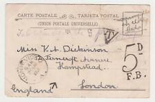 POSTAGE DUE 1904 POSTCARD, MONTEVIDEO TO HAMPSTEAD, TAX MARKS, STOLEN STAMP?