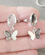 3 Pairs Stud butterfly Earring cabochon blank setting 12mm silver Tone & backs