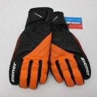Leder Herren Ziener Ski Handschuhe TAISACH AS AquaShield M 8.5 Schwarz Orange