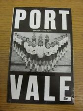 26/01/1974 Port Vale V Tranmere Rovers (cuatro páginas, arrugada, Usado/marcado que).