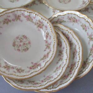 """Set 12 Antique HAVILAND Porcelain 6"""" Bowls PINK ROSES Double GOLD Schleiger 844"""