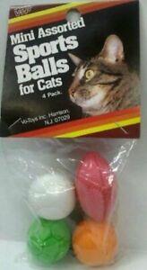 VOTOYS CAT RUBBER SPORT BALLS 4 PACK CRAZY MINI ASSORTED BALL KITTEN CAT TOY