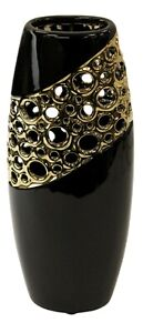35cm Tall Ceramic Black And Gold Cylinder Decorative Vase With Holes Design