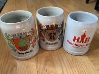 Lot of3 German Stoneware Steins Augsburg Henninger Brau Beer Lowenbrau Munchen