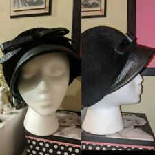 Vintage 50s Woolf Brothers Black Cloche Hat