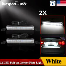 2x White 12-SMD LED Bolt-On License Plate Light Backup Car Truck Offroad Lamp