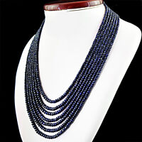646.65 CTS NATURAL 7 STRAND ROUND FACETED RICH BLUE SAPPHIRE BEADS NECKLACE (RS)