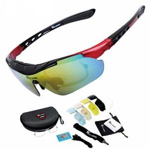 Unisex Sports Sunglasses 5 Lenses Cycling Bike Bicycle Polarized Eyewear Glasses
