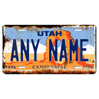 US Metal License Plate - Utah Rusted, Personalise your own plate