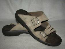 Clarks Springers Size 10 M Beige Leather Strappy Sandals Slides Comfort