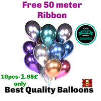 "10 - 20 PEARL LATEX METALLIC CHROME BALLOONS 12"" Helium Baloon Birthday Party"