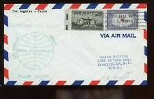 US First Pan AM Polar Flight Cover 1957 Los Angeles franked with #921 Korea