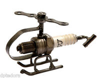 Spark Plug Helicopter Hand Crafted Recycled Metal Art Sculpture Figurine