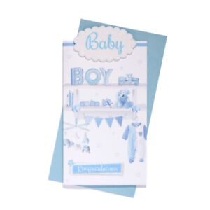 CONGRATULATIONS , BABY BOY, LOVELY VERSE,GREAT QUALITY!! FREE P&P