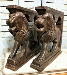 Pair decorative lion carving corbel bracket antique french architectural salvage