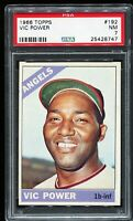 1966 Topps Baseball #192 VIC POWER California Angels UER ERROR PSA 7 NM