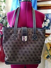 Dooney & Bourke Large Monogrm Shoulder Bag Tote Leather Canvas Brown Black Purse