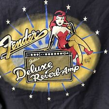 Fender The Collection Da Vinci Delux Reverb Amp Pinup Girl Button Front Shirt M
