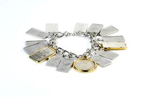 Fine Silver Issue .999 Bars Charm Bracelet Sterling Coin 1776 2 gr Mt St. Helens