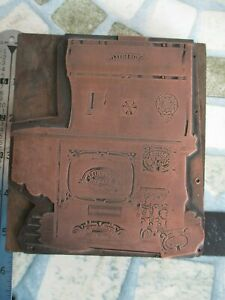 LETTERPRESS PRINTING BLOCK BAXTER COOK STOVE OF MANSFIELD OHIO COPPER ON WOOD