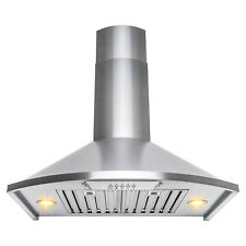 """30"""" Wall Mount Brushed Stainless Steel Range Hood Push Button Kitchen Stove Vent"""