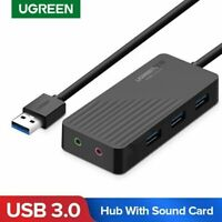 UGREEN Adaptateur Audio USB Carte Son USB 3.5mm Jack avec Hub USB 3.0 3 Ports