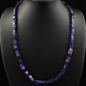 190.00 Cts Earth Mined Single Strand Purple Amethyst Beads Necklace JK 10E276