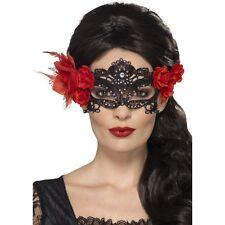 Women's Day of the Dead Lace Filigree Eye Fancy Dress Mask & Roses Halloween Fun
