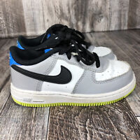 Nike Force 1 (TD) Athletic Sneakers White Gray Green Blue Boys Size 9C Shoes Kid