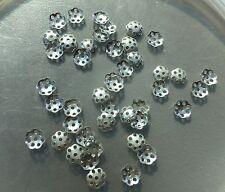 Vintage Silver Plate Multi Open Pierced Design Delicate Bead Cap Bead Findings