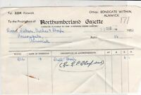Northumberland Gazette 1953 The Northern Press Ltd Invoice & Receipt Ref 38192