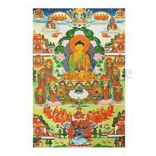 """35"""" Tibet Shakyamuni Amitabha Buddha Thangka Mural Statue Silk Wall Cloth Decor"""