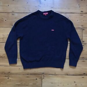 navy blue supreme textured small box logo sweater size small