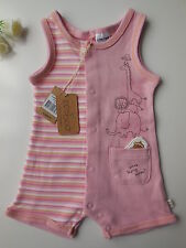 Ecoboo Organic Cotton Baby Girl Pink Striped Jungle Romper Size 00 Fits 3-6m