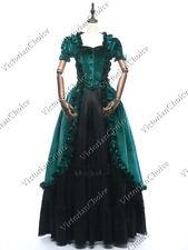 Victorian Gothic Green Velvet Fairytale Princess Gown Steampunk Dress 061 Xxl
