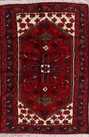 Geometric Tribal Red Hamedan Area Rug Hand-made Wool Kitchen Office Carpet 3'x5'