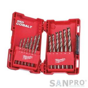 19 PC MILWAUKEE Hss-G Red Cobalt Stainless Steel/Metall-Bohrer Set 1 To 10 MM