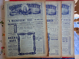 3X VINTAGE 1910 FISHING GAZETTE NEWSPAPERS LOTS OF EARLY FISHING ADVERTS