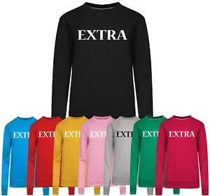Womens Ladies Extra Print Sweatshirt Slouch Hoodie Pullover Tops Jumper