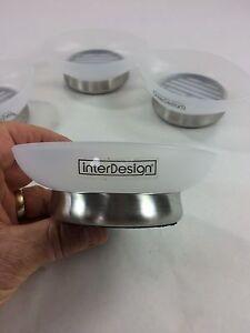 Soap Dish InterDesign, Bathroom Kitchen, Plastic top Stainless Base, Foam Bottom