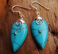 Ohrhänger 4,5 cm Silber Türkis Tropfen Modern Ohrringe Hänger Spirale Glanz Blau