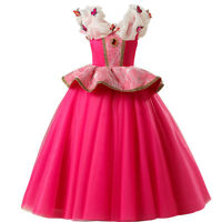 Disney Aurora Princess Dress Kids Girls Cosplay Party Halloween Fancy Dress