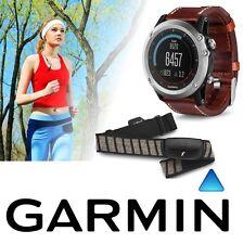 Garmin Fenix 3 Sapphire Multi Sport GPS Silver Watch Leather Band HRM Bundle