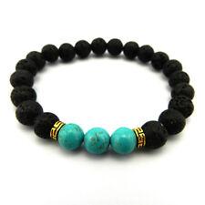 Lavastein Armband Edelstein Perlen Buddha beads Damen Herren schwarz türkis gold