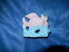 New listing Vintage Pink Fish On Wave Ceramic Aquarium Ornament Figurine Japan Unused Nm