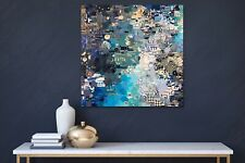 "blue mixed media collage art  on wood panel wall decor 24"" x 24"""