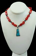 Necklace Turquoise Red Coral Nuggets Black Onyx 925 Silver Handcrafted USA