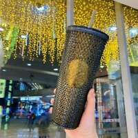 Starbucks China 2021 Valentine's Black Gold Diamond Studded Tumbler CUP 24oz