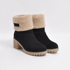 New Womens Warm Fur Lined Snow Boots Square Heels Ankle Boots Suede Winter Shoes