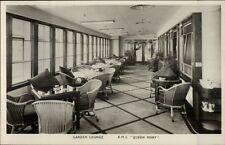 RMS Steamship Queen Mary Interior Real Photo Postcard GARDEN LOUNGE